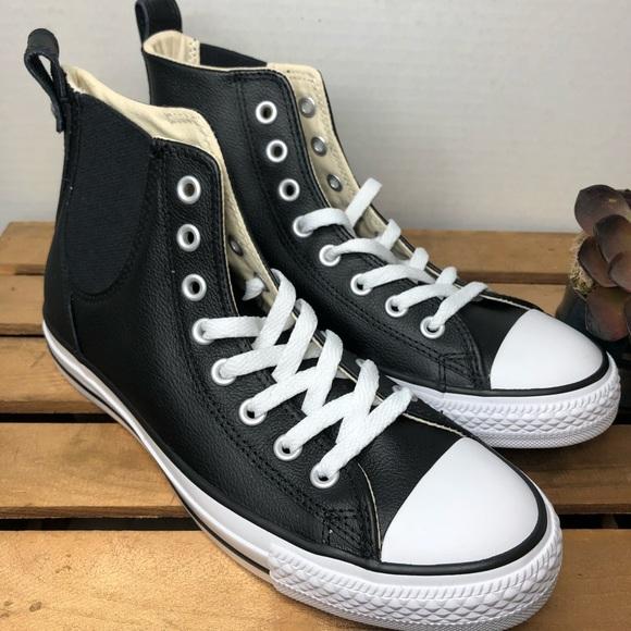 Converse Black Hi Top Leather Men 7